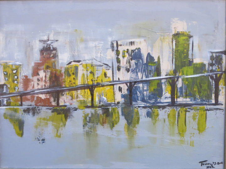 City Speed - Painting,  27x21 cm ©2012 by James Thompson -                                                            Abstract Expressionism, Canvas, Cities, Vancouver, Cityscape, Canada