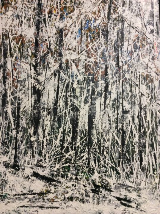 Fresh White - Painting,  48x24 in ©2015 by James Thompson -                                                            Contemporary painting, Canvas, Landscape, Winter, Canada, Forest, Snow