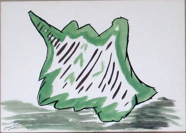 Shell - Malerei,  10x14 in, ©1967 von James Burden -                                                                                                                                                                          Abstract, abstract-570, ABSTRACT PAINTING