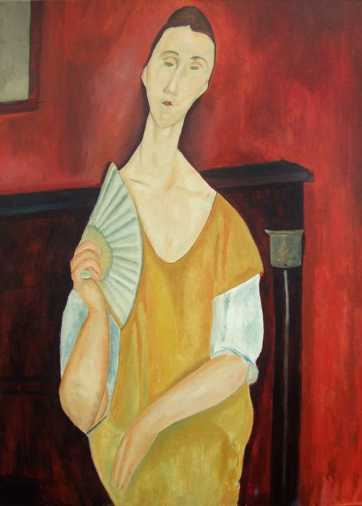 Woman with Fan from James Bond after Modigliani Painting by