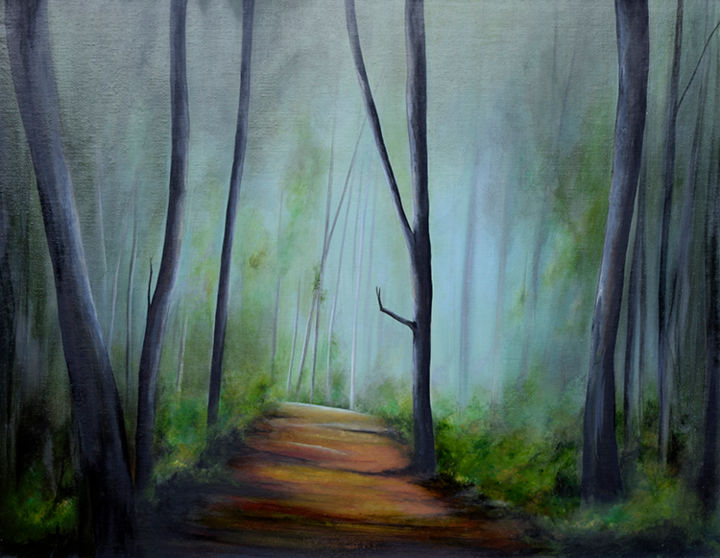 """Painting titled """"Forest Walk"""" by James Rooney, Original Art, Oil Mounted on Wood Panel"""