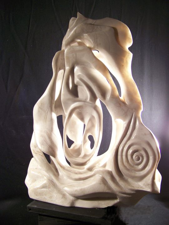 White Buffalo Time - Sculpture,  22x7x7 in ©2015 by Jan and Jo Moore -                                                                                                                                    Abstract Art, Abstract Expressionism, Expressionism, Impressionism, Stone, Abstract Art, Animals, Mortality, Spirituality, white, buffalo, alabaster, stone sculpture, abstract stone