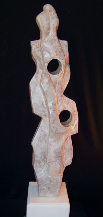 Let the Waters Flow---Stone Sculpture - Sculpture,  48x10x12 in ©2015 by Jan and Jo Moore -                                                                                                                                    Abstract Art, Abstract Expressionism, Contemporary painting, Expressionism, Stone, Abstract Art, Nature, Spirituality, Water, stone sculpture, alabaster, abstract sculpture, water, contemporary sculpture