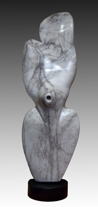 """Vortex"" - Sculpture,  18x6x4 in ©2015 by Jan and Jo Moore -                                                                                                                                                Abstract Art, Abstract Expressionism, Expressionism, Minimalism, Stone, Abstract Art, Black and White, Body, Nature, Nude, stone, stone sculpture, alabaster, abstract stone"