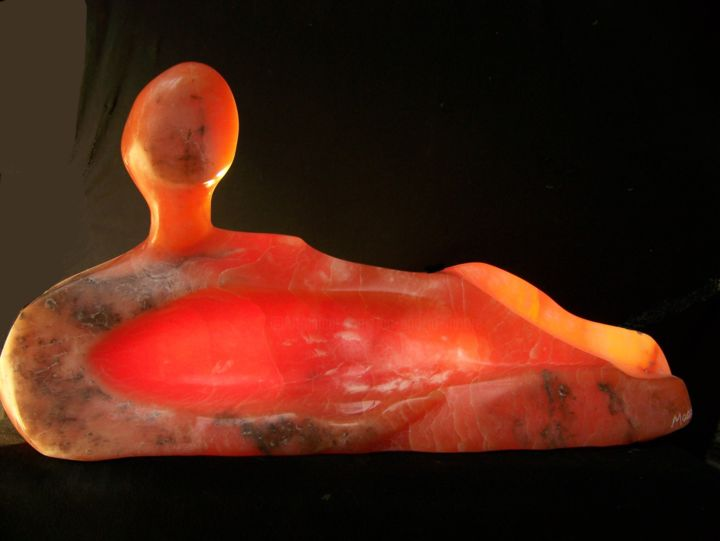 Henry's Lover - Sculpture,  12x27x4 in ©2016 by Jan and Jo Moore -                                                                                                                                    Abstract Art, Abstract Expressionism, Expressionism, Minimalism, Stone, Abstract Art, Spirituality, Women, World Culture, alabaster, stone sculpture, women, reclining figure, Henry Moore