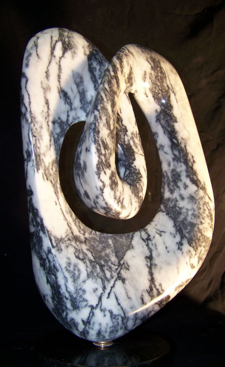 Tangled Water---Zebra Marble Sculpture - Sculpture,  19x12x9 in, ©2016 by Jan and Jo Moore -                                                                                                                                                                                                                                                                                                                                                                                                                                                                                                                                                                                              Abstract, abstract-570, Stone, Abstract Art, Garden, Spirituality, Water, marble, stone sculpture, water, black white, mobius
