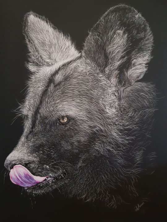 """Drawing titled """"African Paint - Wolf"""" by Jan Lowe, Original Art, Ink Mounted on Wood Panel"""