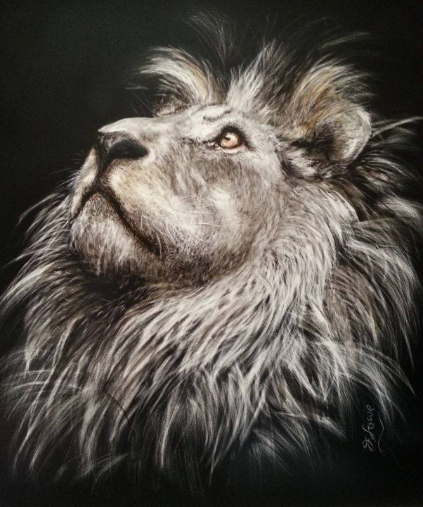 """Drawing titled """"Ode to Cecil"""" by Jan Lowe, Original Art, Scratchboard Mounted on Wood Panel"""