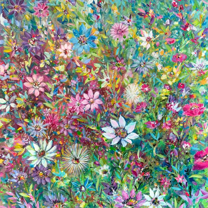 """Painting titled """"Floral Joy"""" by Jan Rogers, Original Art, Acrylic"""