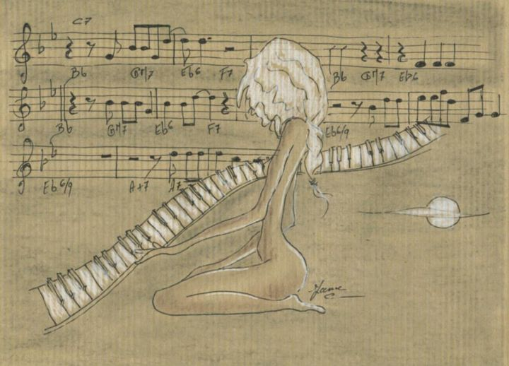 musicale.jpg - Drawing, ©2015 by Jane Buchet-Astruc -