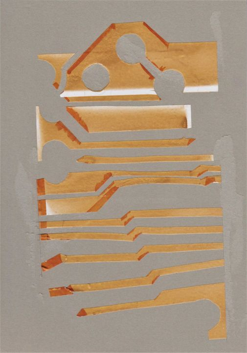 structure-VIII240918 - Drawing,  25x18x0.2 cm ©2018 by Jane23 Art Electronic -                                    Pulpboard, Plastic