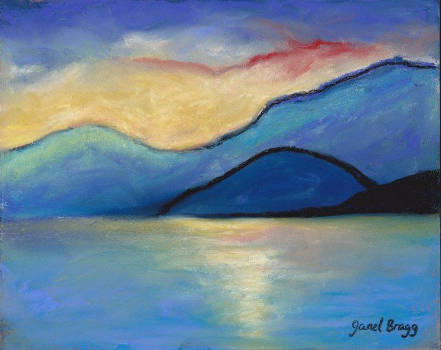 San Juan Island Twilight in pastels - Painting ©2012 by Janel Bragg -            color abstract landscape janel bragg san juan islands washington state guemes channel