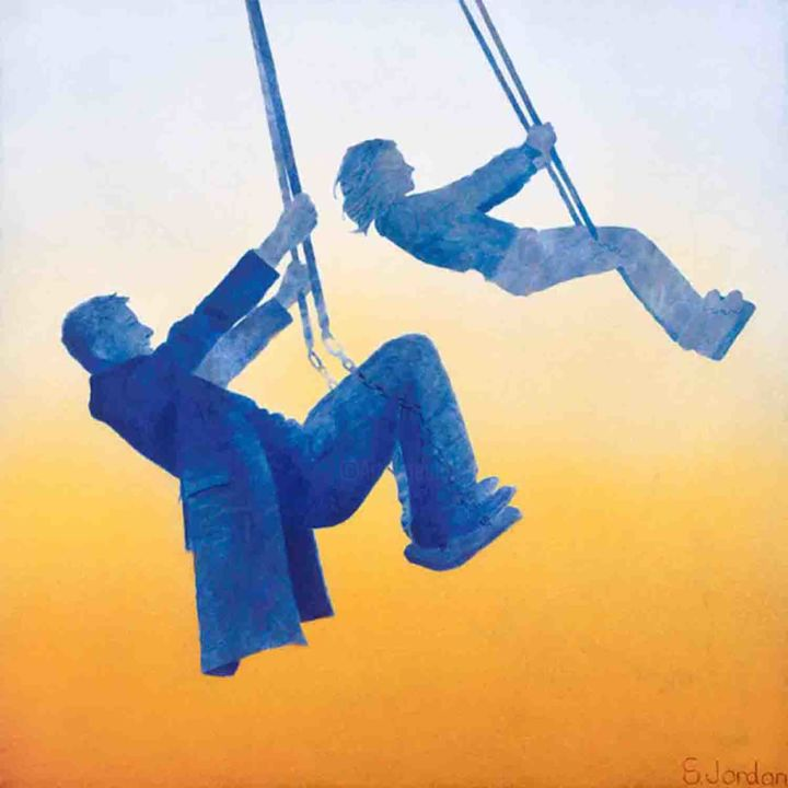 Loop the loop - giclee print - limited edition 1/50 - Printmaking,  18.1x18.1 in, ©2020 by Steve Jordan -                                                                                                                                                                                                                                                                                                                                                                                                                                                                                                  Figurative, figurative-594, People, Swings, Playground, playing, memories, fun, people, Adults at play