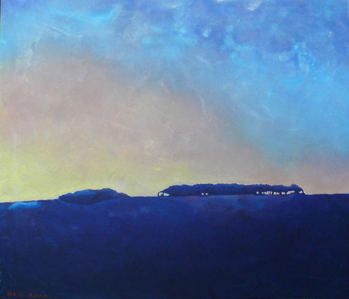 Itford Hill - Giclee print - limited edition 1/50 - Printmaking,  18x21 in, ©2020 by Steve Jordan -                                                                                                                                                                                                                                                                                                                                                                                                                                                                                                                                                                                                                                      Impressionism, impressionism-603, Landscape, Landscape, Sunrise, South Downs, trees, Hill, Copse, Sky, places, Sussex, Skyline
