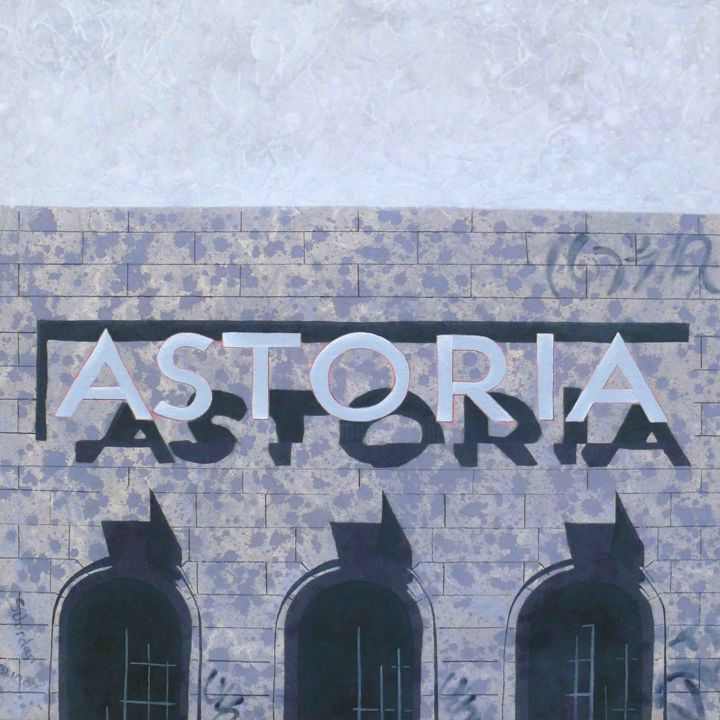 The Astoria - Limited Edition giclee print 1/50 - Printmaking,  18.1x18.1 in, ©2020 by Steve Jordan -                                                                                                                                                                                                                                                                                                                                                                                                                                                                                                                                              Impressionism, impressionism-603, Architecture, Cinema, Derelict, Architecture, Urban, townscape, Graffiti, Abandoned, Saturday Morning Pictures
