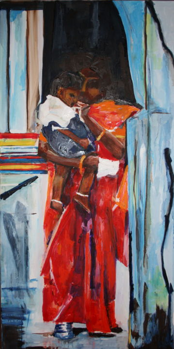 indian-mother-child-2 jpg Painting by Janet Daldy   Artmajeur
