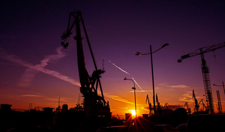 """Photography titled """"Cranes in Pula"""" by Jan Hrad, Original Art, Digital Photography"""