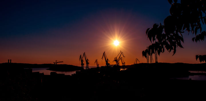 """Photography titled """"Cranes in Pula at s…"""" by Jan Hrad, Original Art, Digital Photography"""