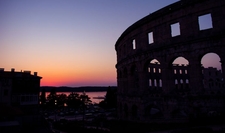 """Photography titled """"Pula sunset over th…"""" by Jan Hrad, Original Art, Digital Photography"""