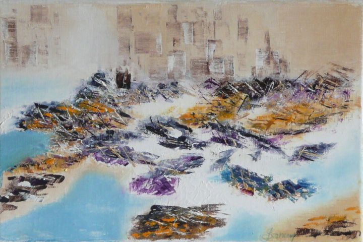 164-mer-urbaine-22x33x2-huile-sur-toile-couteau.jpg - Painting,  22x33x2 cm ©2018 by Gilles Janson -                                                            Abstract Art, Cotton, Abstract Art, paysage urbain