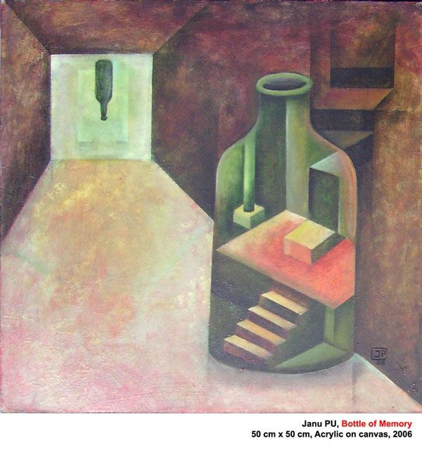 Bottle-of-Memory - Painting,  19.7x19.7x0.4 in, ©2012 by Janu Pu -