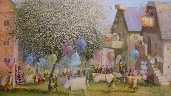 The courtyard of balloonists - Painting,  40x70x2 cm ©2017 by Remigijus Januskevicius -                                                                                                Impressionism, Canvas, Children, Fantasy, People, Tree, balloon, garden, canvas, oil, light, courtyard