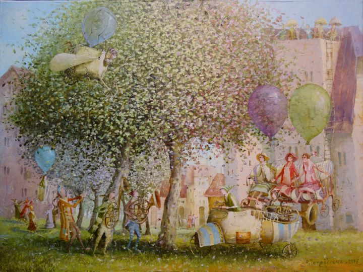 The feast of balloonists - Painting,  30x40x2 cm ©2017 by Remigijus Januskevicius -                                                                                    Impressionism, Canvas, Airplane, People, Travel, tree, oil, painting, garden