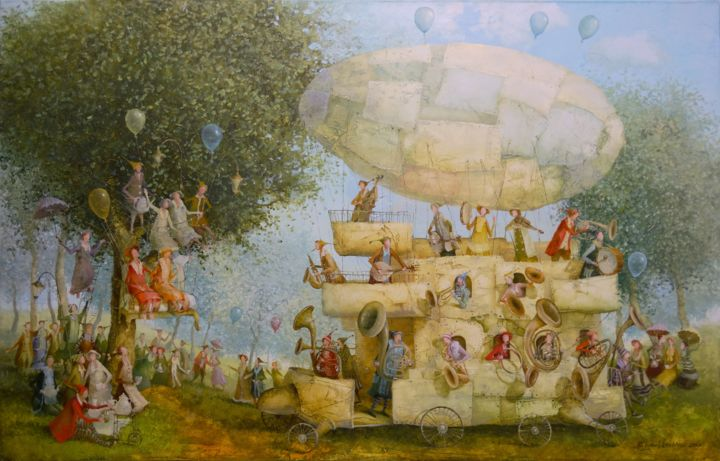Playing airship - Painting,  45x70x2 cm ©2017 by Remigijus Januskevicius -                                                                                    Symbolism, Canvas, Airplane, Garden, People, tree, painting, oil, balloon