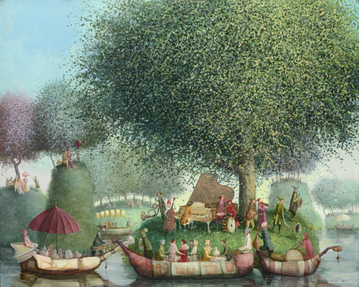 Island of music - Painting,  80x100x2 cm ©2013 by Remigijus Januskevicius -                                                            Impressionism, Canvas, Garden, music, tree, boat, people