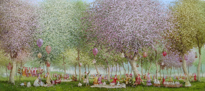 Tea garden - Painting,  40x90x2 cm ©2018 by Remigijus Januskevicius -                                                                                    Impressionism, Canvas, Garden, People, Tree, oil, canvas, light, painting