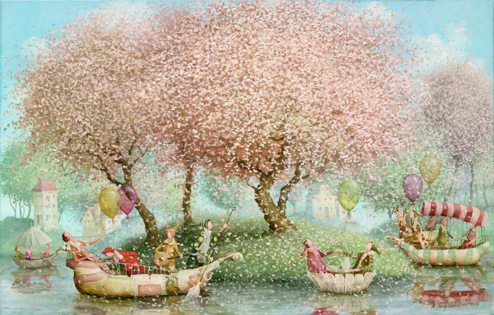 Blooming island - Painting,  17.7x27.6x0.8 in, ©2018 by Remigijus Januskevicius -                                                                                                                                                                                                                                                                                                                                                                                                                                                      Impressionism, impressionism-603, Light, People, Tree, Water, oil, impressionism, canvas