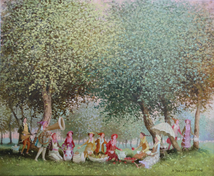 Morning tea - Painting,  15.4x18.5x0.8 in ©2019 by Remigijus Januskevicius -                                                                    Impressionism, Music, People, Tree, oil, canvas, painting, tea