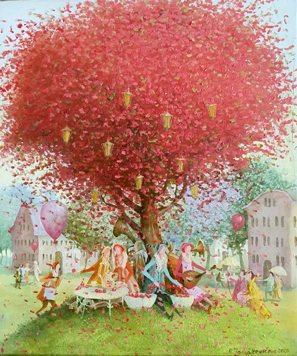 """Painting titled """"Red tree"""" by Remigijus Januskevicius, Original Art, Oil"""