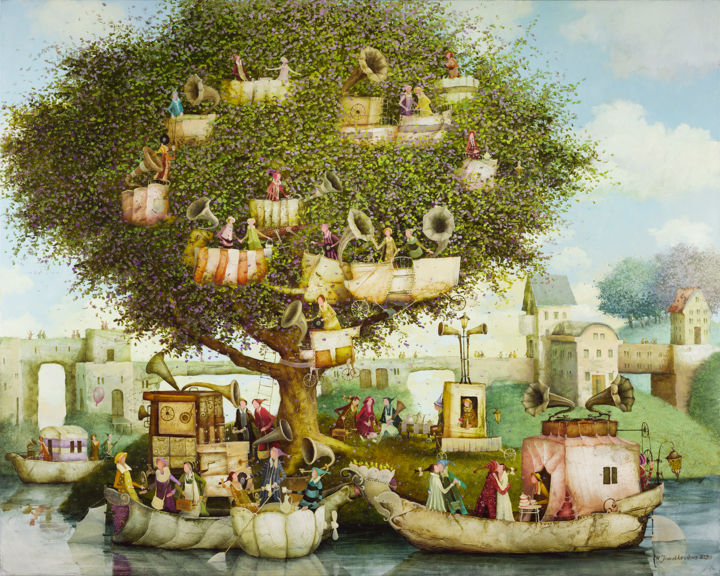 """Painting titled """"Music lovers island"""" by Remigijus Januskevicius, Original Art, Oil"""