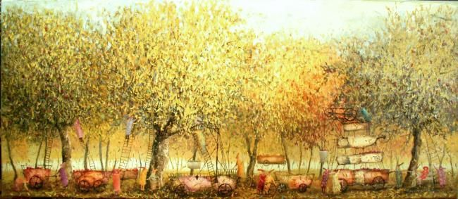Yield - Painting,  11.8x27.6 in, ©2008 by Remigijus Januskevicius -                                                              landscape/oil/painting/canvas/yield