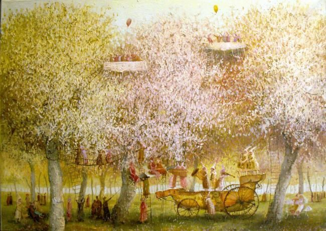 """Painting titled """"White Concert"""" by Remigijus Januskevicius, Original Art, Oil"""