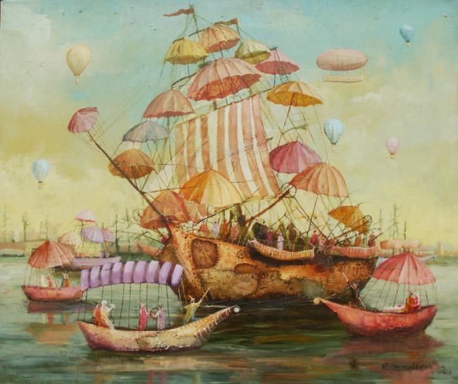 Ship with Umbrellas - Painting,  19.7x23.6 in, ©2009 by Remigijus Januskevicius -                                                              ship/oil/canvas/painting/januskevicius
