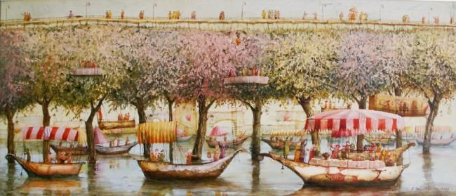 Growing bridge - Painting,  11.8x27.6 in, ©2009 by Remigijus Januskevicius -
