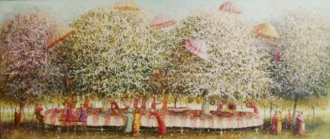 feast in the garden - Painting,  11.8x27.6 in, ©2009 by Remigijus Januskevicius -