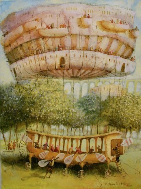 """Painting titled """"balloonists"""" by Remigijus Januskevicius, Original Art, Oil"""
