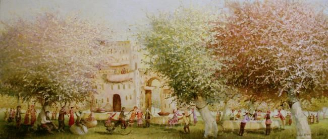 Garden Games - Painting,  11.8x27.6 in, ©2010 by Remigijus Januskevicius -                                                              Painting of a garden games
