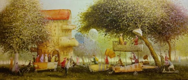 parade - Painting,  11.8x27.6 in, ©2012 by Remigijus Januskevicius -                                                              painting of a parade