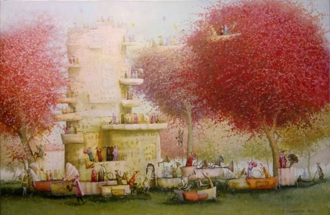 Blowers - Painting,  60x90 cm ©2012 by Remigijus Januskevicius -                            Contemporary painting, painting of a blowers