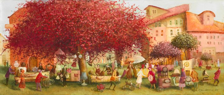 Market - Painting,  11.8x27.6 in, ©2011 by Remigijus Januskevicius -                                                                                                                                                                                                      Garden, print, canvas, market