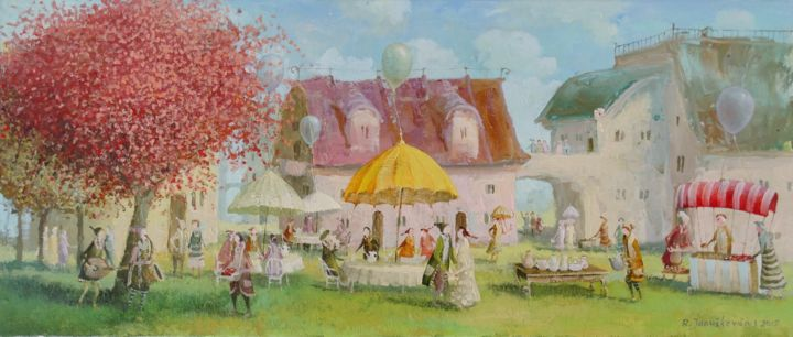 Cafe - Painting,  11.8x27.6 in, ©2015 by Remigijus Januskevicius -                                                                                                                                                                                                                                                                                                                                                                                                          Impressionism, impressionism-603, Garden, Tree, oil, cafe, painting, canvas