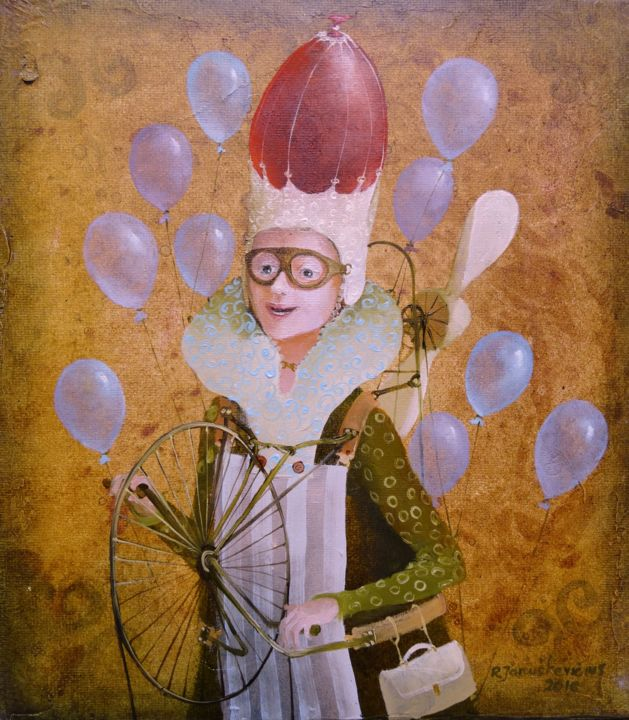 Weather girl - Painting,  22x19.5x2 cm ©2016 by Remigijus Januskevicius -                                                            Portraiture, Canvas, Fantasy, girl, balloon, oil, painting