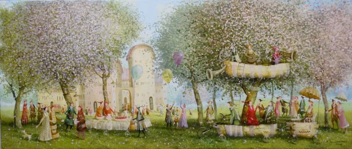 feast in the garden - Painting,  30x70x2 cm ©2016 by Remigijus Januskevicius -                                                            Impressionism, Canvas, Garden, garden, tree, feast, oil