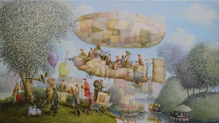 Musical flight - Painting,  45x80x2 cm ©2017 by Remigijus Januskevicius -                                                            Symbolism, Canvas, People, music, people, flight, tree, feast