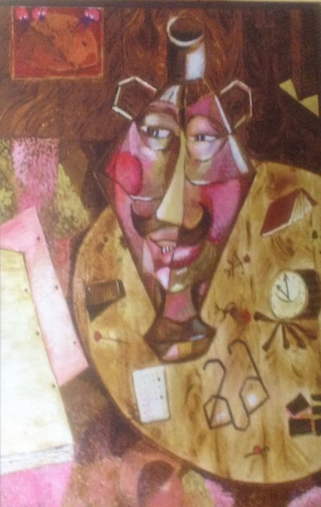 Homage to Paul Klee - © 1992 surrealism, interior, vase, faces, coffee table Online Artworks