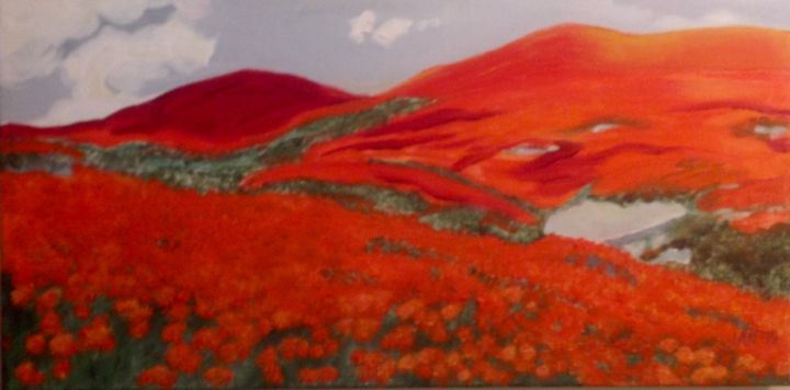 Poppy Fields - Painting,  10x20x1 in, ©2010 by Jan Wall -                                                                                                                                                                                                                                                                                                                                                                                                          Impressionism, impressionism-603, Flower, Landscape, poppies, landscape, red, California